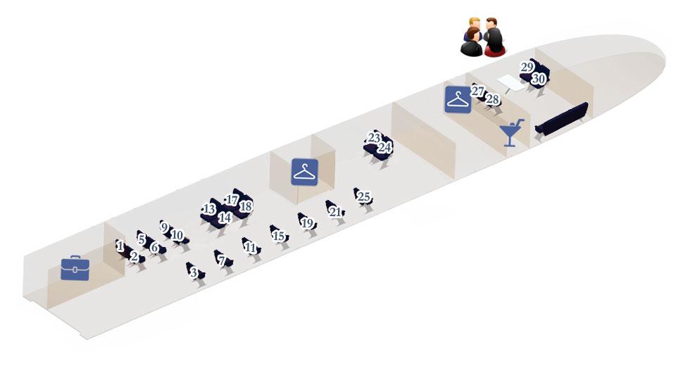 Схема вагона №1 и 11 поезда Сапсан