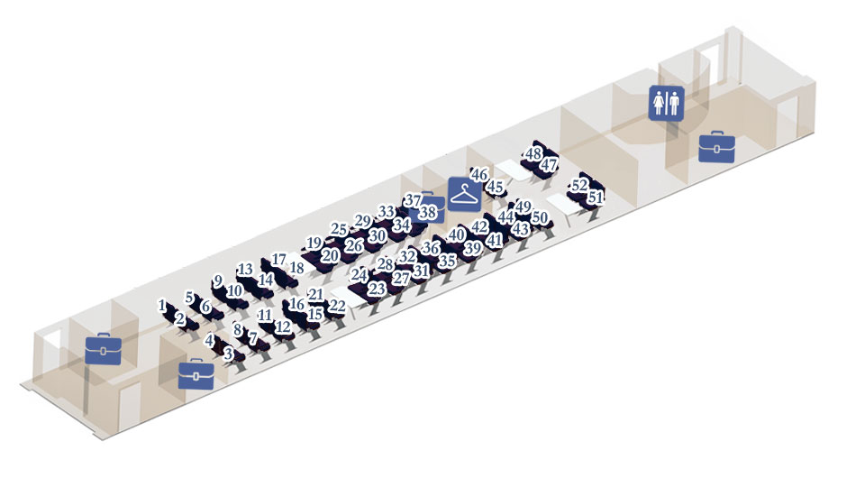 Схема, план вагона №2, №12. Расположение мест.